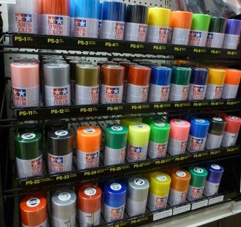 New Rack of Tamiya Sprays for Polycarbonate